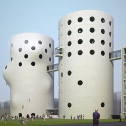 A visually stunning concept for a climbing gym to renovate two abandoned sewage treatment silos in Amsterdam.