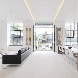 Beautiful interior by Chiara Ferrari studio for this Clink Street apartment in London.