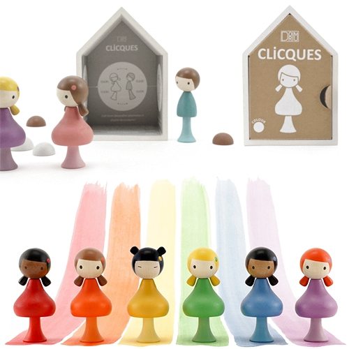 Cliques are wooden peg dolls in such cute packaging! Each has three elements that are held together with tiny magnets to mix and match and come in house-shaped boxes that can be customized with beautiful backgrounds.