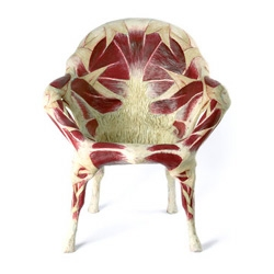 We are all made of meat! And so are some of our iconic objects, according to Italian artist Simone Racheli. Here's the chair, but don't miss the other objects