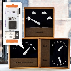 LittleBits cloudBit! The latest component lets you create internet­-connected devices! Everything from weather dashboards and SMS-doorbell alerts to garage openers and whatever you can dream up.