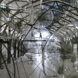 Artist Tomás Saraceno's Cloud Cities installation at the Hamburger Bahnhof Museum in Berlin, Germany.