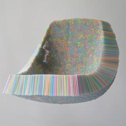 Scott Jarvie's Clutch Chair is made from 10,000 drinking straws, a comment on the disposable culture of our society.