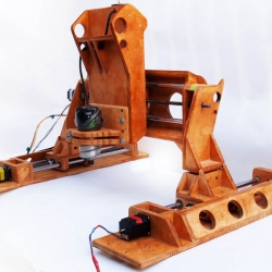 A wooden collapsible 3 axis CNC machine allows for easy storage and transportation for those that don't have a permanent space to use CNC machines.