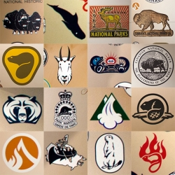 Canada Parks has had great logos over the years. Found these (and more) on a wall of their logos at the Cave and Basin National Historic Site.