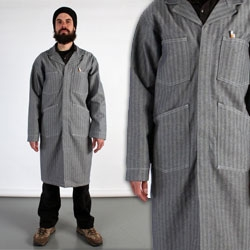 Universal Cotton Shopcoat Fisher Herringbone - If you're going to have to wear a shop coat, this is a pretty nice choice ~ though for girls, i'd definitely take it by the tailor's.