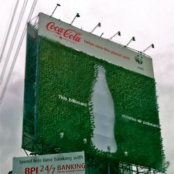 Coca-Cola Philippines and WWF Unveil a Billboard Made of Small Trees.
