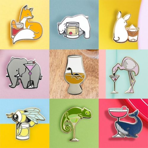 Cocktail Critters have adorable pins combining cutely illustrated drinks and creatures!