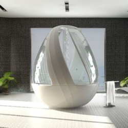 The Egg Shower by Arina Komarova is an innovative egg-shaped shaped Cocoon Shower Stall.