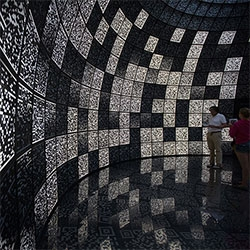 I-City in the Russian Pavilion of the Venice Architecture Biennale is a complete mind trip to wander around in... endless matte black backlit QR codes make up the walls, floors, and ceilings to be viewed with Samsung tablets.