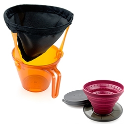 GSI Outdoors has impressively compact and lightweight options for the drip coffee addicts. Ultralight Java Drip and Collapsible Java Drip.