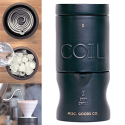 Misc Goods Co. Coil Chiller - A 4 piece ceramic vessel for taking your liquid from hot to cold in minutes through a steel tube coil surrounded by ice. For hot coffee... or vodka or your favorite cocktail without shaking/diluting?