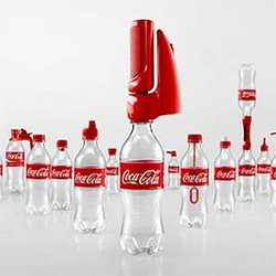 Coca Cola 2nd Lives - 16 caps you can screw on to existing bottles to upcycle them! From spray bottles to water guns, lights to pencil sharpeners, games and more...