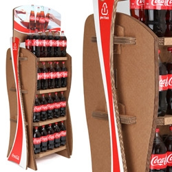 Coca-Cola has launched a new green initiative called the Give it Back rack, a POP display made from recycled Coke packaging - great use of corrugated cardboard.