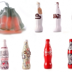 Collection of bottles of Coca-Cola made by the Agency W + K
