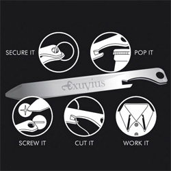 Exuvius Titanium Multi-tool Collar Stays ~ bottle openers, screw drivers, thread cutting edge and more...