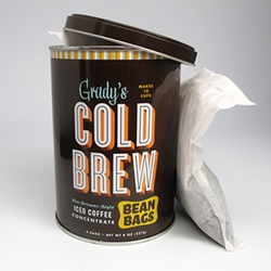 Grady's Cold Brew now has Bean Bags! The bags are filled with ground coffee beans, chicory, and spices—that you soak overnight in water for cold brew coffee!