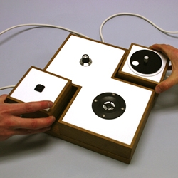 'Collaborative Instrument' by Matt West requires two people to play: one to control the pitch and the other to control the rhythm.