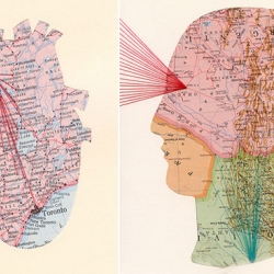 Flicker set by Selflesh - Cool collages of body parts made out of old maps.