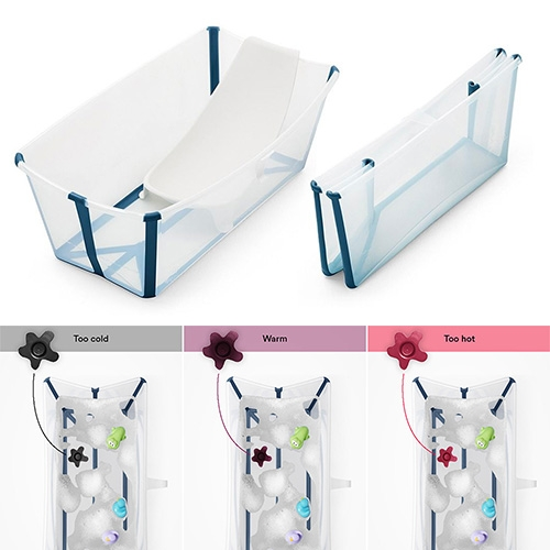 Stokke Flexi Bath - interesting design for a collapsible baby bath tub (that you could easily use for everyday things!) with a unique, color changing, temperature sensitive stopper.