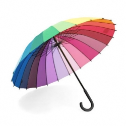 Very colorful color-wheel umbrella is just the thing to beat rainy day blues. $40.