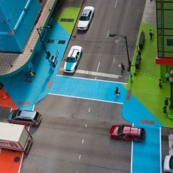 Artist Jessica Stockholder transforms a Chicago intersection into a bright landscape of pastels.
