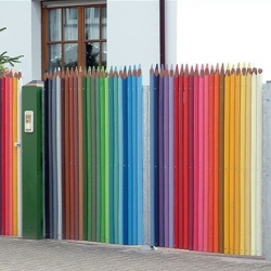 Unique idea for a home, kindergarten or art school - Color Pencil fence.
