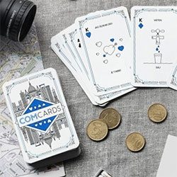 Comcards - playing cards that teach you languages while you play. Perfect for travel! Lovely illustrations as well.