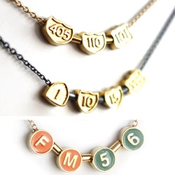 Celebrating commuting in LA or NYC ~ L.Makai turns your freeway or subway codes into jewelry...