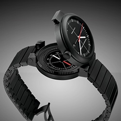 """Porsche Design Heritage Compass watch 1978 SH - """"shot-blasted titanium case, scratch-resistant and anti-reflective sapphire crystal, water resistant to 50 meters (5 ATM), liquid compass (can be taken out of the case)."""""""