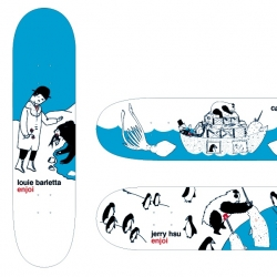 I recently designed some graphics for Enjoi Skateboards.  There's 4 pro models and then a Merman T-shirt.  They'll be out for the holidays at skateboard shops!.  I hope all like them.  thank you for your time.
