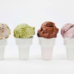 Handcrafted porcelain ice cream cones from designer Virginia Sin. Inedible, but very buyable!