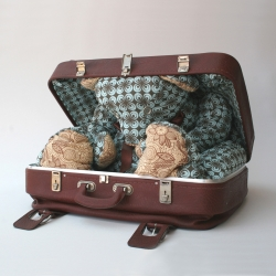 a teddy bear that is part of the suitcase's interior appears when you open the suitcase.