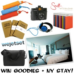 GIVEAWAY! (With NOTCOT friends WEJETSET + Mr & Mrs Smith) Awesome travel goodies + a 2 night stay at cooper square in NY + cash?