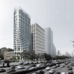 The iconic Conrad Hotel in Beijing, designed by local architects MAD, is currently under construction.