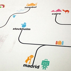 Spanair has awesome graphical icons on a huge wall sized map in Barcelona airport representing the various cities they fly to.