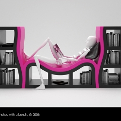 Reading books the way they should be read, nicely kicked back, is always a good thing. Stanislav Katz, designer in Latvia has some nice and playful designs and ideas, this being one of them.