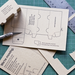 Adorable 'some assembly required' moving announcement card made by Toronto agency Espresso for an engineering firm.