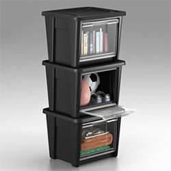 Rubbermaid All Access Organizers - in addition to the usual opening on the top, a clear-view panel can also be opened on the side.