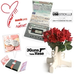 Last Day of the GIVEAWAY!!! Fun long weekend vday/chinese new year/president's day giveaway from SUCK UK ~ 3 Guns Table Vase, Mixtape USB Stick, and Silver Plated Love Hearts Sweet + twitter bonus!