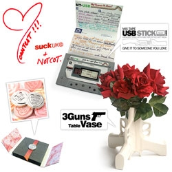 "GIVEAWAY!!! Fun long weekend vday/chinese new year/president's day giveaway from SUCK UK ~ 3 Guns Table Vase, Mixtape USB Stick, and Silver Plated Love Hearts Sweet (A perfect replica of the classic sweet. Says ""I Love You"") + twitter bonus!"