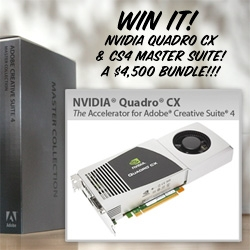 NOTCOT Prompt of the NVIDIA contest! Win an Nvidia Quadro CX Accelerator and CS4 Master Collection (valued around $4,500!!!) ~ which makes your work lightning fast! Just snap a pic or video messing with scale... giant toys? tiny people?