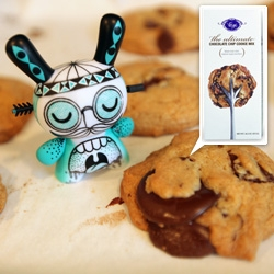 Trying out the Vosges Ultimate Chocolate Chip Cookie Mix ~ with a cameo from the new Kidrobot 2tone Dunny Series ~ great packaging, fun copy, delicious cookies!