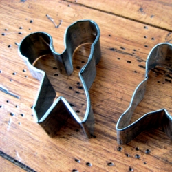 Vintage cookie cutter in scissors form.