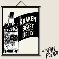 Kraken Rum ~ Could this be THE coolest rum to launch? And they're giving away a free poster... Beautiful branding and packaging from Proximo as always ~ happy sunday!