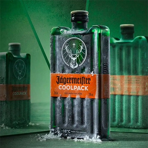 Jägermeister COOLPACK - an ice pack inspired new bottle design -  stackable, compact, and portable.