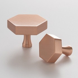 Adorable copper hexagon drawer pulls from Schoolhouse Electric
