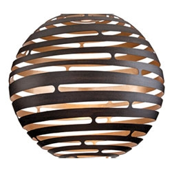 Tango from Corbett Lighting is made from hand-crafted iron formed into a 30-inch cut-out orb that produces a striking display of warm light.
