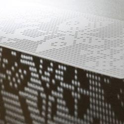 Crochet Steel Shelves by Gudrun Lilja cast beautiful shadows. Available through Bility.