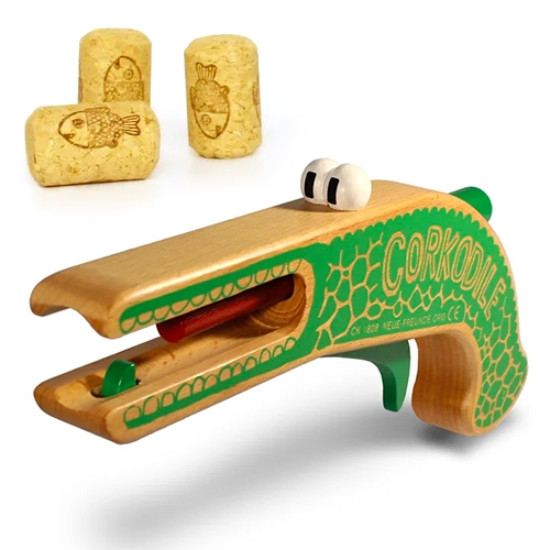 Neue Freunde Corkodile is an amazing, adorable wooden CORK PISTOL!
